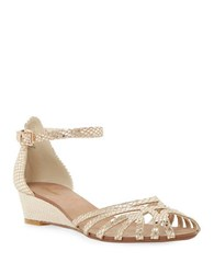 Dune Knightly Leather Low Wedge Sandals Champagne