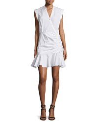 Veronica Beard Fountain Sleeveless Ruched Button Front Dress White Women's