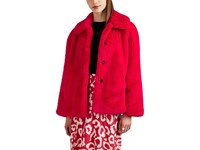 Opening Ceremony Faux Fur And Faux Suede Oversized Jacket Red