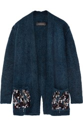By Malene Birger Josemaria Embellished Wool Blend Cardigan Petrol