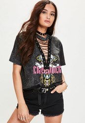Missguided Grey Washed Lace Up Graphic T Shirt Black