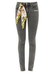 Off White Printed Scarf Skinny Jeans Grey