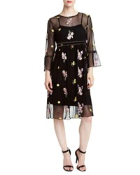 Romeo And Juliet Couture Dome Studded Floral Embroidered Illusion Dress Black
