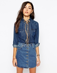Lee Jeans Slim Western Blue Skin Denim Shirt