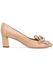 Casadei Mid Heel Fringed Loafers Women Leather Nappa Leather Kid Leather 36 Nude Neutrals