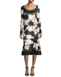 Naeem Khan Two Tone Floral Guipure Lace Flounce Dress Black White Black White
