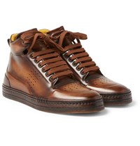 Berluti Playtime Polished Leather High Top Sneakers Brown