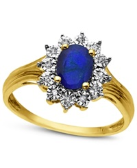 Macy's 10K Gold Ring Sapphire 1 Ct. T.W. And Diamond Accent Ring Blue