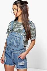 Boohoo Frayed Edge Denim Dungaree Shorts Mid Blue