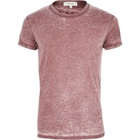 River Island Mens Burgundy Burnout T Shirt Red