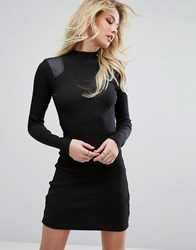 G Star High Neck Dress With Leather Look Panel Dk Black