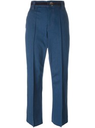Marc Jacobs 'Bowie' Cropped Denim Trousers Blue