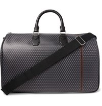 Dunhill Leather Trimmed Printed Coated Canvas Holdall Gray