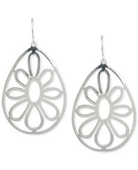 Touch Of Silver Openwork Flower Teardrop Earrings In Plated Metal No Color