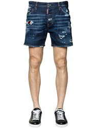 Dsquared Destroyed Cotton Denim Shorts W Patches