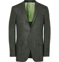 Richard James Dark Green Seishin Slim Fit Slub Silk And Linen Blend Blazer Dark Green