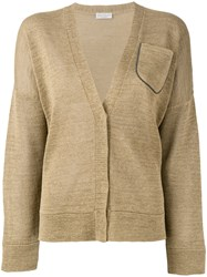 Brunello Cucinelli Long Sleeve Pocket Cardigan Brown