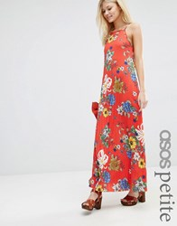 Asos Petite Pleated Cami Maxi Dress Red Floral Print Floral Multi