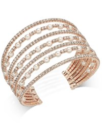 Inc International Concepts Rose Gold Tone Pearl And Pave Multi Row Cuff Bracelet Created For Macy's