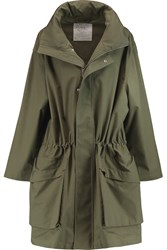Mcq By Alexander Mcqueen Oversized Cotton Twill Hooded Coat Green