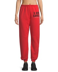 Peace Love World Life Jogger Sweatpants Bright Red
