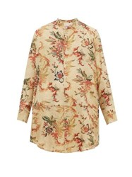 By Walid Lollo Foliage Print Silk Shirt Multi