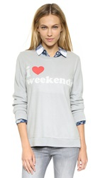 Chaser I Heart Weekends Sweatshirt Platinum