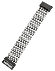 Kenneth Cole Crystal Faceted Stone Mesh Bracelet Silver