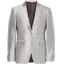 Burberry Grey Slim Fit Slub Silk Tuxedo Jacket Stone