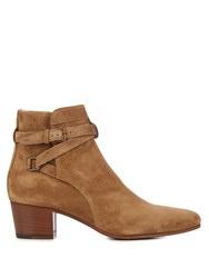 Saint Laurent Blake Suede Ankle Boots Light Tan