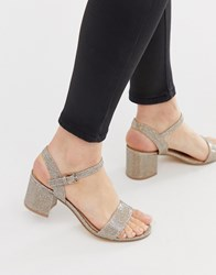 London Rebel Mid Heel Sandals Gold