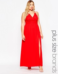 Truly You Wrap Front Maxi Dress Red