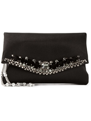 Giorgio Armani 'Sateen' Jewel Clutch Black