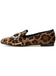 Dolce And Gabbana Leopard Print Loafers Women Leather Velvet 39 Brown