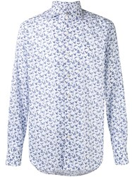 Canali Butterfly Print Slim Fit Shirt White