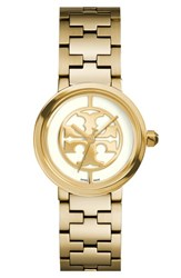 Tory Burch Women's 'Reva' Logo Dial Bracelet Watch 28Mm Gold Ivory