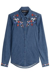 The Kooples Denim Shirt With Embroidery Blue