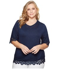 B Collection By Bobeau Plus Size Reeve Lace Trim Tee Ink Women's T Shirt Navy