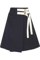 Marni Canvas Trimmed Twill Wrap Skirt Midnight Blue