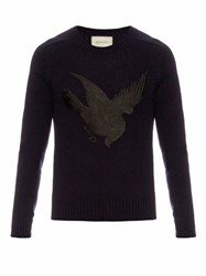 Gucci Bird Applique Wool And Cashmere Blend Sweater Navy