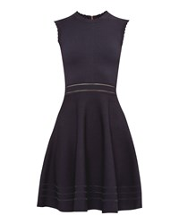 Ted Baker Carilyn Knitted Cut Out Skater Dress Dark Blue
