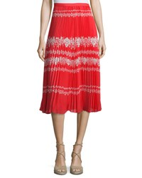 Self Portrait Pleated Flower Spell Midi Skirt Red Cream Red Cream