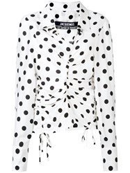 Jacquemus Polka Dot Blouse Women Silk Polyester Viscose 40 White