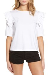 Women's Bp. Short Sleeve Ruffle Tee White