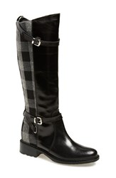 Women's Charles David 'Pirella' Riding Boot Black Grey Leather Fabric