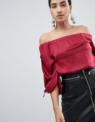 Ax Paris Ruched Sleeve Top Red