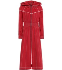 Valentino Techno Jersey Hooded Maxi Dress Red