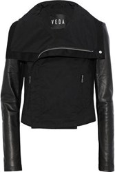 Veda Ray Leather Paneled Cotton Twill Jacket Black