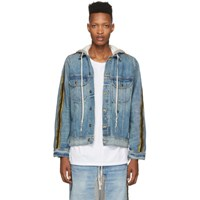 Greg Lauren Blue Denim Royal Hooded Trucker Jacket