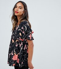 Mamalicious Floral Flutter Sleeve Top Black Floral Multi